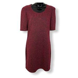Maison Scotch Short Sleeve Tweed Herringbone Dress